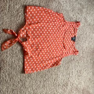 Peach crop tank top polka dot sheer